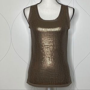 Ann Taylor LOFT sequin tank top brown SP